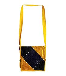 Patchwork and Mirror Work Shoulder Bag with One Zipped Pocket and One Open Pocket