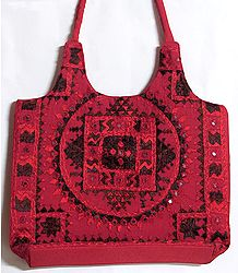 Mirrorwork and Embroidered Red Cotton Bag
