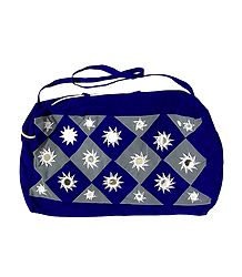 Blue and Grey Mirrorwork Bag with 2 Zips