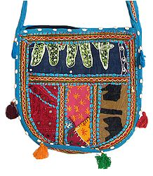 Mirrorwork and Embroidered Multicolor Cotton Bag with One Zipped Pocket