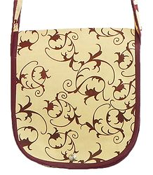 Dark Brown Print on Beige Cotton Shoulder Bag with One Open Pocket