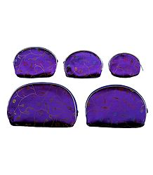 Set of 5 Purple Brocade Clutch Purse