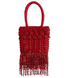 Red Beaded Party Purse