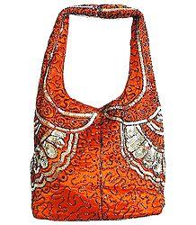 Dark Saffron Satin Bag with Bead and Sequin Work