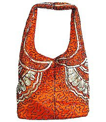Dark Saffron Satin Bag with Bead and Sequin Work