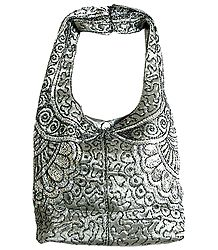 Grey Satin Bag with Bead and Sequin Work