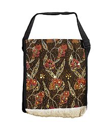 Floral Design Jute Cloth on Rexin with Bead and Sequin work One Open and Two Zipped Pocket Bag