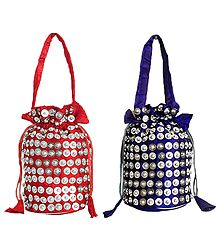 Sequined Silk Potli Bags