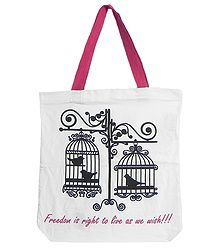 Caged Birds Print on White Shopping Bag