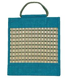 Weaved Shopping Bag with Bamboo Check Pattern