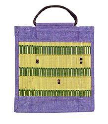 Jute Shopping Bag with Bead work on Bamboo Sticks