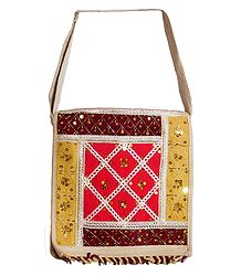 Sequined, Beaded and Laced Jute Bag with Two Zipped and One Open Pocket