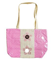Decorative Jute with Synthetic Bag with One Zipped Pocket and One Small Open Pocket