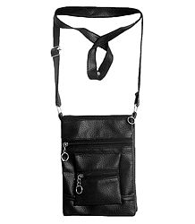 Black Rexine Sling Bag with Four Zipped Pocket