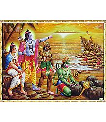 Hanuman and the Vanar Sena Build a Bridge of Rocks Across the Sea to Lanka - Poster