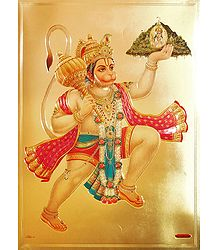 Hanuman Carrying Gandhamadan Parvat - Metallic Picture