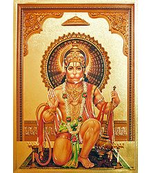 Lord Hanuman - Metallic Photo