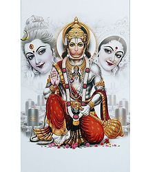 Hanuman with Shiva and Parvati - Unframed Poster