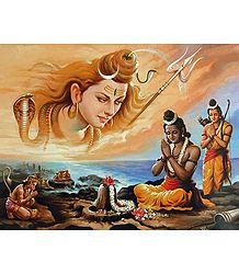 Rama Propitiates Shiva for His Blessings to Defeat Ravana