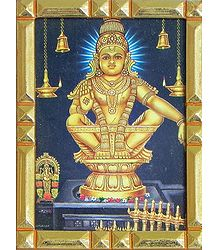 Lord Ayappan - Framed Table Top Picture
