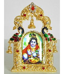 Bal Gopal - Metal Framed Table Top Picture