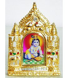 Makhan Chor Krishna - Metal Framed Table Top Picture