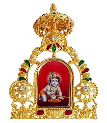Bal Gopal on Golden Throne Metal Frame