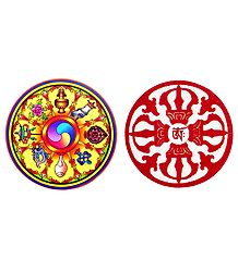 Kaalachkra and Vajra - Set of 2 Buddhist Stickers