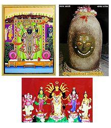 Mahakaleshwar Jyotirlinga, Durga and Balaji - Set of 3 Posters