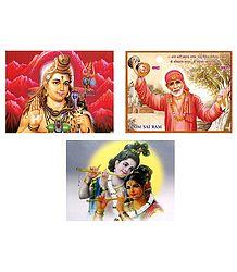 Radha Krishna, Shiva and Shirdi Sai Baba - Set of 3 Posters
