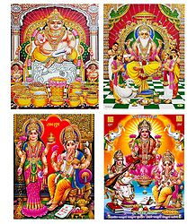 Kubera, Vishwakarma, Lakshmi, Saraswati and Ganesha - Set of 4 Posters