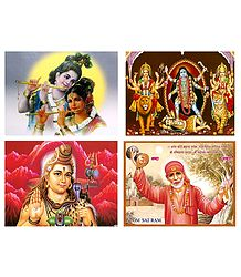 Radha Krishna, Kali, Durga, Shiva and Shirdi Sai Baba - Set of 4 Posters