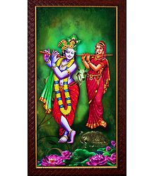 Radha Krishna Playing Flute - Wall Hanging