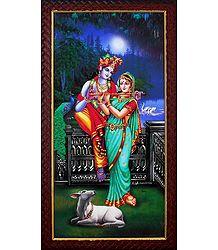 Radha Learning Flute from Krishna - Wall Hanging