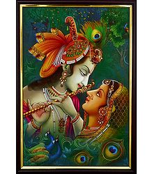 Radha Krishna - The Divine Lovers - Framed Picture