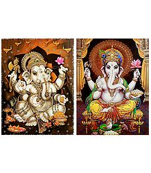 Lord Ganesha - Set of 2 Glitter Posters
