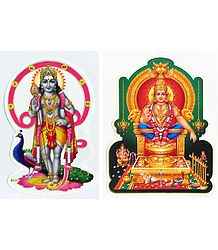 Murugan and Ayyappan - Set of Two Stickers