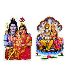 Shiva Parvati and Vishnu Lakshmi Sticker