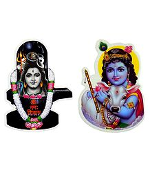 Lord Shiva and Krishna - Set of 2 Stickers