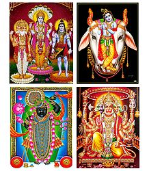 Brahma, Vishnu, Shiva, Krishna, Hanuman and Srinathji - Set of 4 Posters