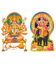 Panchamukhi Hanuman and Vishwakarma - Set of 2 Stickers