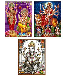 Lakshmi,Ganesha,Srinathji and Vaishno Devi - Set of 4 Posters