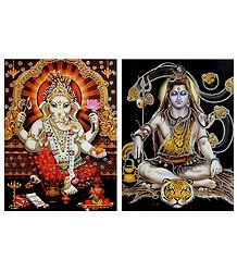 Shiva and Ganesha - Set of 2 Glitter Poster