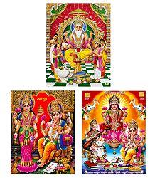 Vishwakarma, Lakshmi, Saraswati and Ganesha - Set of 3 Posters