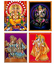 Ganesha and Radha Krishna - Set of 4 Posters