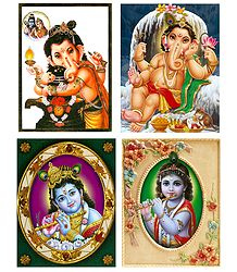 Ganesha and Krishna - Set of 4 Posters