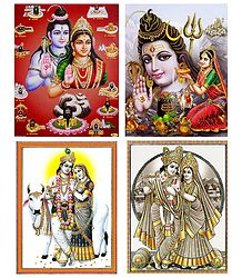 Shiva Parvati and Radha Krishna - Set of 4 Posters
