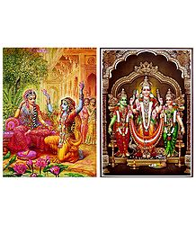 Krishna in Disguise with Radha and Kartikeya with Devasena and Valli - Set of 2 Posters