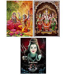 Shiva,Krishna in Disguise with Radha and Kartikeya with Devasena and Valli - Set of 3 Posters