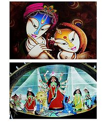 Radha Krishna and Devi Durga - Set of 2 Posters